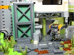 Military trooper X59 in action (Devid VII) Tags: military crew x55 devid vii mecha moc mech war troopers olive lego x59 orange diorama scene devidvii