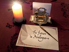 The Future is Analogue (Graeme Pow) Tags: calligraphy analogue analog future pen ink inkwell paper candle candlelight writing dark night brass thefutureisanalogue