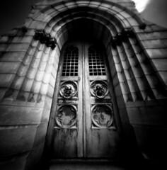 Oakland Cemetery (Andrew Bartram (WarboysSnapper)) Tags: rss realitysosubtle 6x6f redfilter ilfordid11developer oaklandcemetery atlanta mausoleum doorway grave coffin film filmisnotdead pinhole fujiacros100