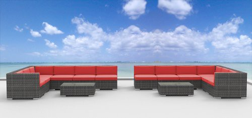 UrbanFurnishing.net 14b-lajolla-coralred 14 Piece Modern Wicker Patio Furniture Sofa Sectional Couch Set For Sale