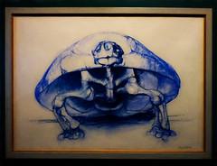 The Giant Tortoise (Steve Taylor (Photography)) Tags: gianttortoise geochelonesp bryankneale art drawing sketch painting picture blue black yellow uk gb england greatbritain unitedkingdom london outline naturalhistory bones skeleton tortoise shell