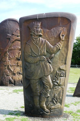 Gaspe The Cast Iron Monuments represent the history of Jacques Cartier with the Iroquois Nation of Stadacona