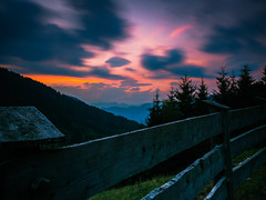 When the sun goes down... (davYd&s4rah) Tags: sky dawn forest cabin southtyrol trentino longtime langzeitbelichtung beautiful colorful longtimeexposure olympus em10markii m1240mm f28 olympusm1240mmf28