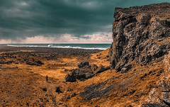 Down by the water (PokemonaDeChroma) Tags: gunnuhver iceland cliff beach canoneos6d clouds weather overcast land barren april2017 ef24105mmf3556isstm gullbringusysla rockybeach