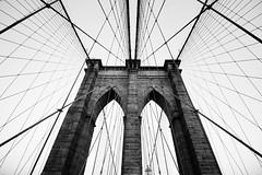 Brooklyn Bridge. (Jon Ortega Photography) Tags: brooklyn bridge puente blackandwhite blancoynegro bn bw ladrillos bricks cable wire acero steel arc arco arquitectura architecture simetria symmetry monochrome monocromo monocromático newyork nuevayork nyc ny city ciudad urban urbana manhattan