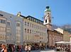 Innsbruck - Altstadt (14) - Maria-Theresien-Strasse (Pixelteufel) Tags: innsbruck tirol tyrol österreich austria tourismus architektur fassade gebäude altstadt innenstadt city stadtmitte stadtkern historisch restauriert erneuert geschäft geschäftshaus laden einkaufen shop shopping erker fusgängerzone strasencafé kirche kirchenarchitektur kirchenfassade kirchturm kirchturmuhr