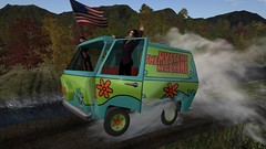 CHEARRRGE!!! (alexandriabrangwin) Tags: alexandriabrangwin secondlife mondybristol 3d cgi computer graphics virtual world photography scooby doo mystery machine van wheelie screeching tires funny silly hanging out each side american flag waving fluttering wind smoke spinning bridge dangerous flying team patriot louise mensch claude taylor twitter