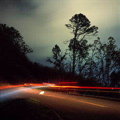 (patrickjoust) Tags: tlr twin lens reflex 120 6x6 medium format fuji chrome slide e6 color reversal film cable release tripod long exposure night after dark manual focus analog mechanical patrick joust patrickjoust south southern united states north america estados unidos gatlinburg tennessee tn mamiya c330 s sekor 80mm f28 fujichrome provia 100f car light streak stream tree forest smokey mountain national park