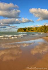 Lake Michigan ... shiny beach (Ken Scott) Tags: backpage breakers sand beach reflection clouds bluesky gillspier leelanau michigan usa 2017 october autumn fall colortour 45thparallel hdr kenscott kenscottphotography kenscottphotographycom freshwater greatlakes lakemichigan