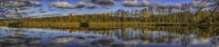 Panorama from Suomenoja Bird Lake (Topolino70) Tags: canon600d panorama bird pond lake fall autumn clouds water reflection suomenoja espoo finland