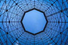 Essen, Germany (gstads) Tags: essen germany deutschland blue architecture geometry geometric pattern patterns ruhr ruhrgebiet sky pylon line lines symmetry skylight