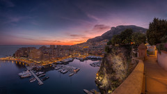 Monaco Sunset (LB-fotos) Tags: 8mm architecture boats hdr hafen lights monaco port skyline sonnenuntergang sunset city fisheye ocean water