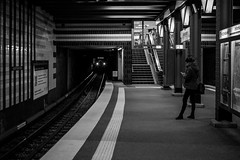 here comes the cat / prelude in E Minor (Özgür Gürgey) Tags: 2017 35mm bw chopin d750 hamburg nikon samyang architecture candid grainy lights lines repetition station street subway