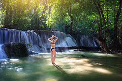 Female in bikini in nature waterfall (Patrick Foto ;)) Tags: adventure attractive background bali bath beautiful beauty bikini body concept costa female fit forest fresh girl gorgeous green happy hawaii healthy hot lifestyle maui model natural nature outdoor people person relax rica river rock sensual sexy spa stream summer swimsuit tourism travel tropical vacation water waterfall waterfalls woman women young tambonmaekrabung changwatkanchanaburi thailand th