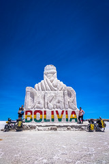 A very colourful Bolivia sign in the solar de uyuni .