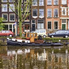 Mokum (Jack Heald) Tags: amsterdam netherlands jordaan canal boat mokum city fall tugboat restored vintage heald jack nikon tourist travel tourism water reflections