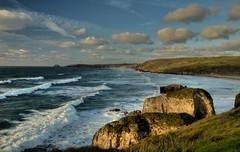 Rocks n' Rollers (suerowlands2013) Tags: perranporth northcornwall atlantic breakers waves eveninglight holidayresort cliffs surfing rocks stack bay beach