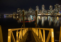 Reflections at Night (Serthra) Tags: canoneos5dmarkii canon5dmark2 nightphotography nighttime lowlight longexposure urban city cityview cityscapes citylife lights night vancouver reflections reflection water waterfront architecture landscape seascape britishcolumbia canada