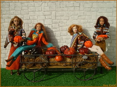 Colorful autumn with 4 redheads (Mary (Mária)) Tags: barbiebasic barbie poppyparker barefootinthepark cinderella thelook pumpkins park autumn fall poncho goddess lara ladytremaine dollphotography hay orange brown handmade marykorcek