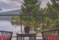 Do you remember the time... (Tracey Rennie) Tags: railing deck flickrcation eleven sechelt devishouse chair plant bay sunshinecoast