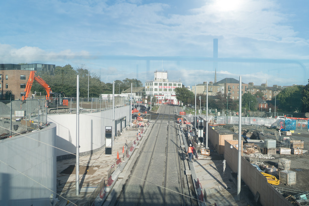 CONSTRUCTION STILL UNDERWAY AT THE BROADSTONE TRAM STOP [THE SCENE IS SOMEWHAT COMPLICATED]-133001