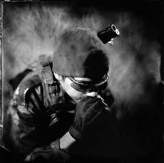 Airsoft player on plate ([Eric OLIVIER]) Tags: wetplate collodion alternativprocess largeformat photography blackandwhite noiretblanc portrait airsoft process alternativ collodionhumide tintype ferrotype
