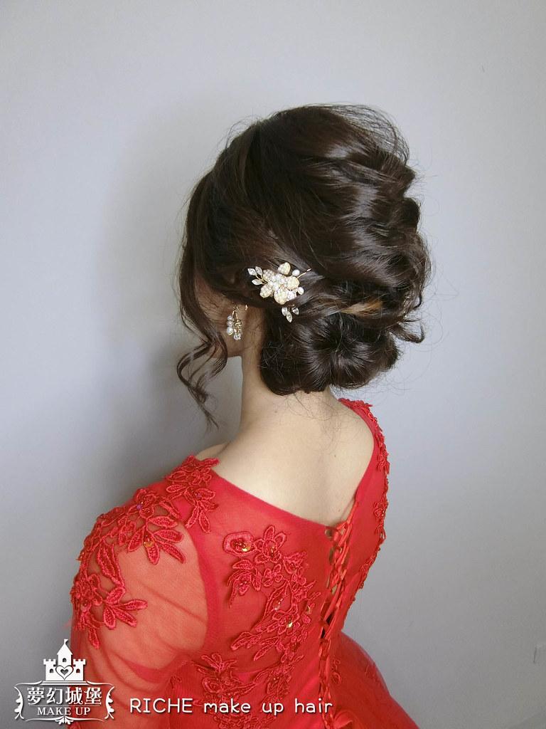 【新秘RICHE】新娘造型創作 / 短髮-優雅盤髮