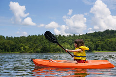 Determined (Elizabeth Sallee Bauer) Tags: active adventure beautyinnature bluesky boat boating child childhood fun green kayak kayaking lake learning learningyoung nonurbanscene outdoorsports outdoors outside paddling practice river summer water youth