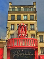 Paris France ~ Moulin Rouge ~ Parisian Cabaret ~ Doriss Girls  ~ Feerie (Onasill ~ Bill Badzo) Tags: pars france moulin rouge monument cancan dance downtown french cabaret historic attraction mustsee attractionsite building windmill onasill tourist travel vacation red mill olympia original organic phonegraphy house europe ontmartre paris district pigalle boulevard de clichy cancandance birth metro station roof seductive entertainment club decor romance sky blue clouds concert nightclub parisian nightlife girls dancing doriss feerie iphone neonsign