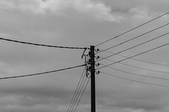 20171008-DSC01490 (Fabian Tomczyk) Tags: blackandwhite pole wires lines power electricity gray sky wood woodenpole edited lightroom sony sonyalpha6000 alpha6000 alphacollective alphaddicted minolta rokkor manualfocus