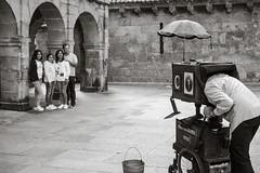 Street Photographer - Vintage (Poul_Werner) Tags: gislevrejser santiagodelacompostella spain spanien 53mm busferie ferie rejse travel travelbycoachorbus santiagodecompostela galicia es bw blackwhitephotos