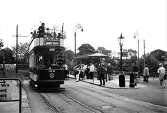 The National Tramway Museum, Crich - LCC tram no. 106 leaves Town End for Glory Mine (photo by Roger Johnson)