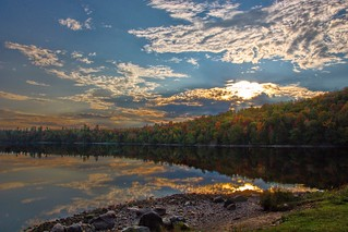 Lake Placid New York  ~ Ausable River at Franklin Road Bridge @ Sunset