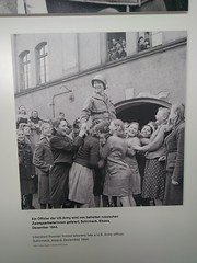 """Liberated Russian forced laborers celebrate U.S. soldier"" - Topography of Terror Museum & Memorial - Berlin (ashabot) Tags:"