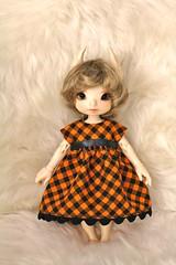 October Subscription Dresses (AluminumDryad) Tags: tinybjd bjd balljointeddoll doll resin fairyland sewing halloween etsy mysterysubscription orange black