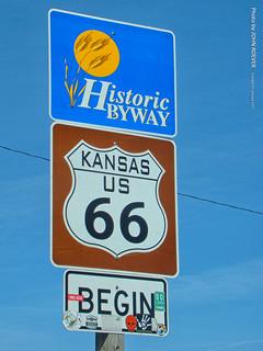 Begin of Route 66 in Kansas, 31 Jan 2017