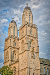 Grossmunster Cathedral Towers, Zurich (Mit Desai) Tags: church belfry cathedral bell tower basilica palace catholic medieval townhall romanesque zurich chapel citadel architecture city europe sky old blue landmark religion switzerland tourism hdr travel tourist