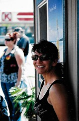 A Day & A Smile (Shot by Newman) Tags: woman smile sunglasses tanktop shotbynewman daylight fujifilm southwestus 35mm fuji400