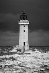 Stormy day at Perch Rock (Explored Oct 17) (another_scotsman) Tags: mersey perchrock stormy sky sea seascape lighthouse mono