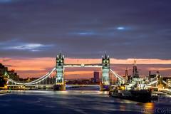 Tower Bridge at Dawn (Daniel Coyle) Tags: towerbridgeatdawn towerbridge towerbridgenight hmsbelfast warship river riverthames thames bridge londonbridge bluehour londonbluehour sunrise londonsunrise citysunrise london londonnight londonskyline view viewpoint danielcoyle uk england nikon nikond7100 d7100 night nightphotography nightshot nightcamp water boat dawn longexposure