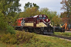 Popping out from the trees (Drew Goff-) Tags: train railway rs18 alco mlw railroad ontario guelph trees green locomotive engine red