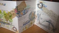 Paris. Balade au bord des canaux. 2. Une partie du carnet. (couleur.indigo) Tags: aquarelle paris papier paysagesurbains feutre carnet croquis collage