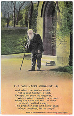 The Volunteer Organist (4) (pepandtim) Tags: postcard old early nostalgia nostalgic volunteer organist 56vlu78 bamforth holmfirth new york song written composed william gray lamb 1893 village church preacher brother sympathy clothes torn drunkard