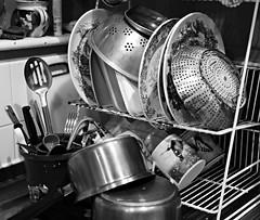 Day 7 (Gaz-zee-boh) Tags: sevendaysinyourlife challenge sevenblackwhitephotos plates saucepans mug cutlery washingup cullender colander blackandwhite bw almostanything