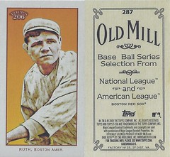 2009 Topps 206 / Old Mill Mini - BABE RUTH #287 (Outfield) (Baseball Hall of Fame 1936) (Boston Red Sox) (Treasures from the Past) Tags: 2009topps206 2009topps206mini baseballcard minibaseballcard topps parallelcard miniparallelcard mini cycle piedmont oldmill polarbear carolinabrights goldchromepiedmont goldchrome minipiedmont shortprint hof halloffame baseballhalloffame baberuth bostonredsox newyorkyankees nyyankees baseball outfield pitcher