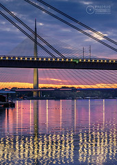 Sava-River-Belgrade-New-Railway-and-Ada-Bridges-5 (Predrag Mladenovic) Tags: belgrade sava river ada bridge newrailway gazela sunset twilight reflections citylights
