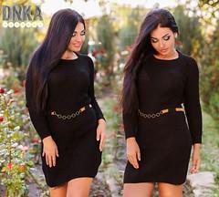 Женское вязаное короткое платье с поясом черное (arrkareeta) Tags: