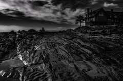 Something Comes By Moonlight (Bud in Wells, Maine) Tags: kennebunk maine bw topaz dark halloween spooky parsonsbeach