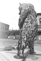Relief for Forky (nelhiebelv) Tags: sculptures bear forks relief naturecalls decatur indiana monochrome