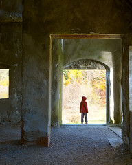 Explorer (Chancy Rendezvous) Tags: kid child charlie explore explorer westboylston stone church autumn fall red door doorway massachusetts ruins chancyrendezvous